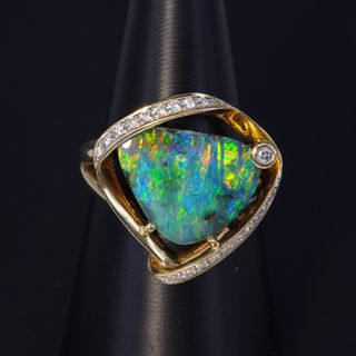 14K Yellow Gold Boulder Opal Ring