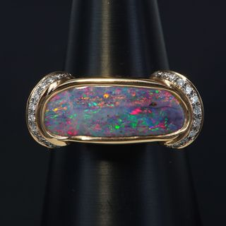 18K Rose Gold Boulder Opal Ring
