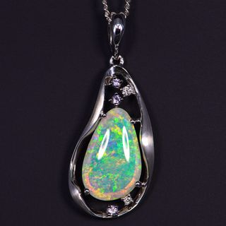 18K White Gold Light Opal Pendant