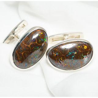 Sterling Silver Boulder Opal Cufflinks