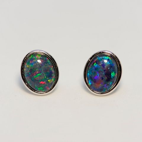 Sterling Silver Triplet Opal Earrings