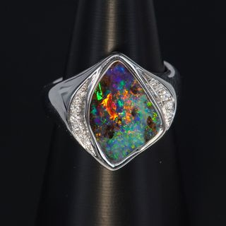 14K White Gold Boulder Opal Ring