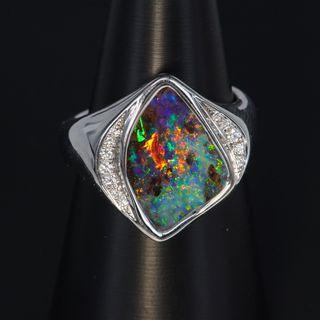 14K White Gold Boulder Opal Ring