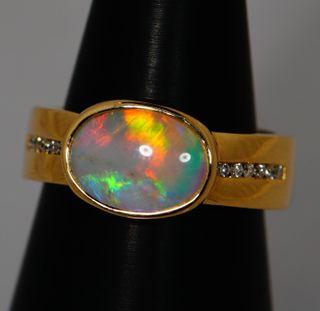 14K Yellow Gold Light Opal Ring