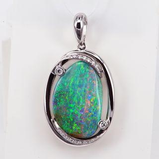 18K White Gold Boulder Opal Pendant