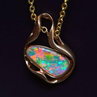 18K Rose Gold Light Opal Pendant