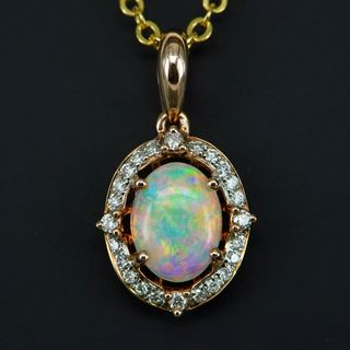 14K Rose Gold Light Opal Pendant