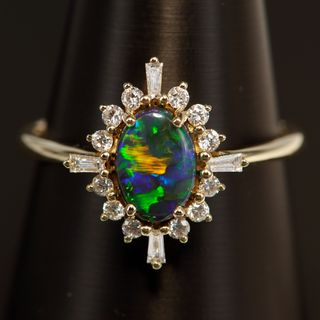 14K Yellow Gold Black Opal Ring