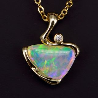 14K Yellow Gold Light Opal Pendant