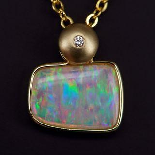 14K Yellow Gold Light Opal Pendant
