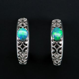 18K White Gold Black Opal Earrings