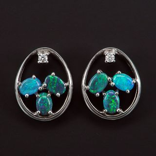 14K White Gold Black Opal Earrings