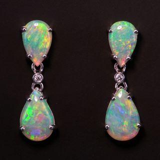 14K White Gold Light Opal Earrings