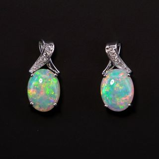 9K White Gold Light Opal Earrings