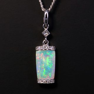 14K White Gold Light Opal Pendant