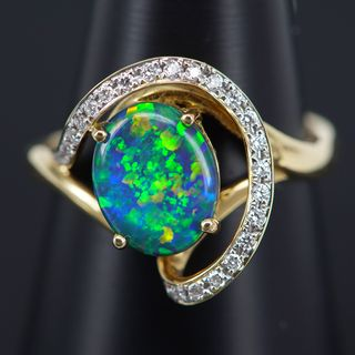 18K Yellow Gold Black Opal Ring