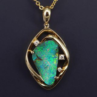 18K Yellow Gold Boulder Opal Pendant