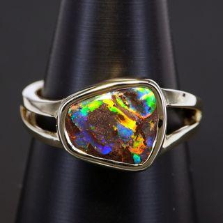 9K Yellow Gold Boulder Opal Ring