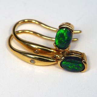 18K Yellow Gold Black Opal Earrings