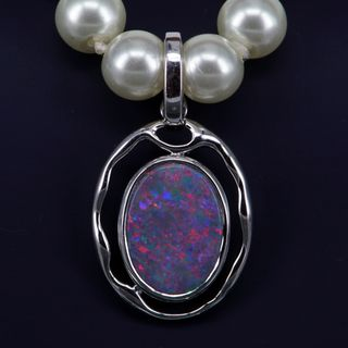 Sterling Silver Black Opal Pearl Enhancer Pendant