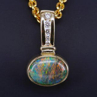9K Yellow Gold Black Opal Pendant