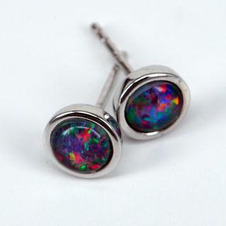 Sterling Silver Triplet Opal Earrings