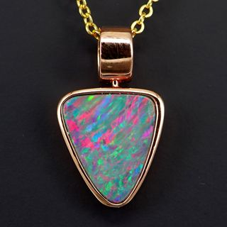 Sterling Silver Rose Gold Plated Doublet Opal Pendant