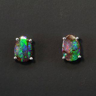 Sterling Silver Boulder Opal Earrings