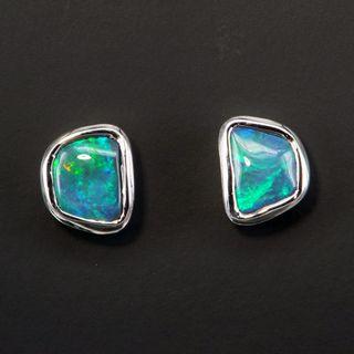 Sterling Silver Black Opal Earrings