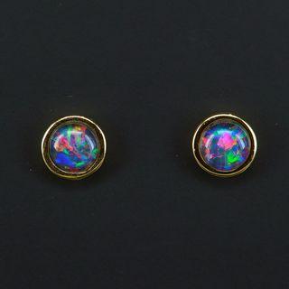 Starling Silver Gold Plated Triplet Opal Earrings
