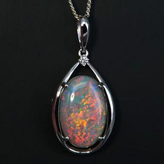 14K White Gold Light Opal Pendant