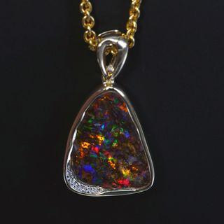 14K Yellow Gold Boulder Opal Pendant
