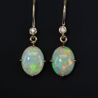 14K Yellow Gold Light Opal Earrings