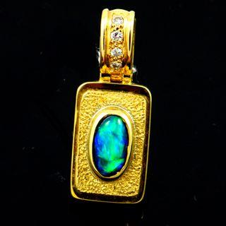 18K Yellow Gold Black Opal Pendant
