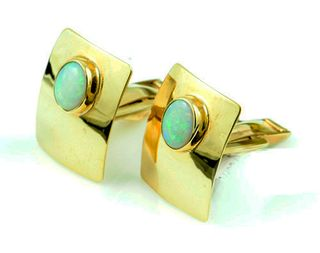 10K Yellow Gold Light Opal Cufflinks