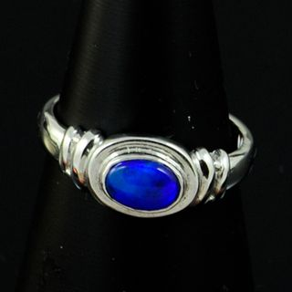Platinum Black Opal Ring
