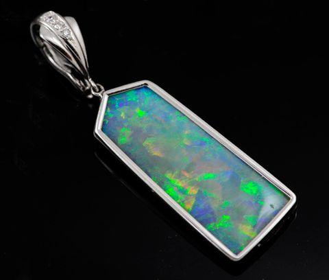 18K White Gold Light Opal Pendant  / Enhancer