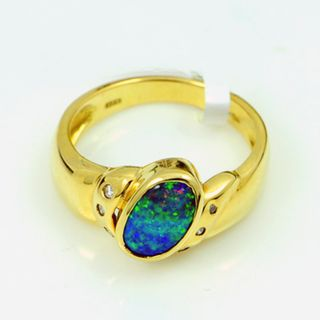 18K Yellow Gold Boulder Opal Ring