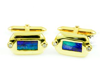 18K Yellow Gold Boulder Opal Cufflinks