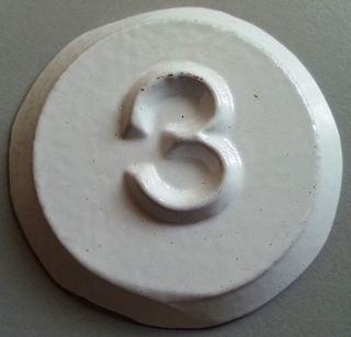 Tank Id Disk (white) - 3 (metal)