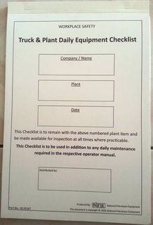 Truck & Plant Equipment Checklist Book