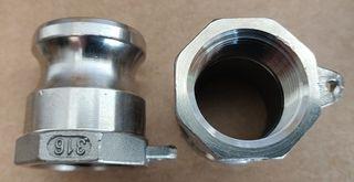 """Camlock A - Adap (3/4"""" - 19mm) (s/s)"""