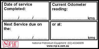 Vehicle Service Sticker