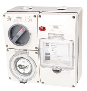 Switched Socket Outlet 5 Pin 10A RCD 4G base IP66