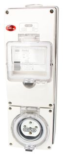 Switched Socket Outlet 5 Pin 20A RCD 3G base IP66