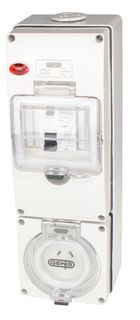 Switched Socket Outlet 3 Pin 15A RCD 3G base IP66