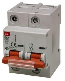 MCB LS Elec 2 Pole 80A D Curve 10kA 27 mm Wide