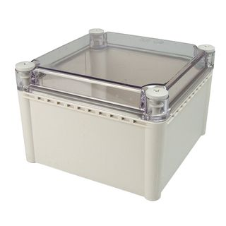 Enclosure ABS Grey Body Clear Screw Lid 75x105x55