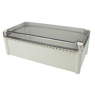 Enclosure Poly Grey Body Clr Screw lid 190x280x130
