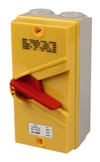 Isolator Enclosed IP56 4 Pole 63A Red/Yellow
